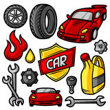 Set of car repair service objects and items.  Stock Photos