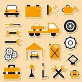 Set of car repair stickers Stock Image