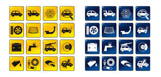 Set of car service icons. Set of vector icons for car service activities in yellow and blue design Stock Image
