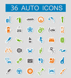 Set of car service icons. Stickers style. Stock Image