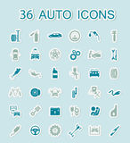 Set of car service icons. Stickers style. Stock Images