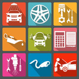 Set of car service icons Stock Photos