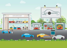 Set of car service station. Royalty Free Stock Photography