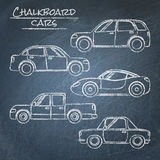 Set of car sketches on chalkboard. Set of chalk car sketches on blackboard Royalty Free Stock Photos