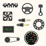 Set of car spare parts. Steering wheel, piston, speedometer, candles, crankshaft, fan bearing watch chain Stock Photo