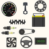 Set of car spare parts. Vector illustration Stock Image