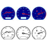 Set of car speedometers Stock Images