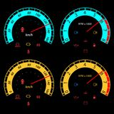 Set of car speedometers for racing design. Stock Photography