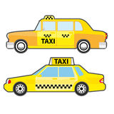 Set of car taxi service, side view. Yellow vehicle transport cab for city. Stock Image