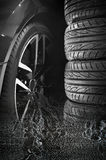 Set of car tires with alloy wheels Royalty Free Stock Image