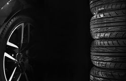 Set of car tires with alloy wheels Royalty Free Stock Photography