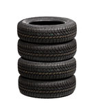 Set of car tires isolated Stock Photos