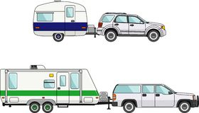 Set of car and travel trailers on a white Royalty Free Stock Photos
