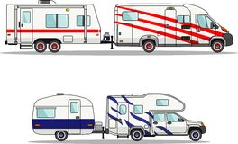 Set of car and travel trailers on a white Stock Photos