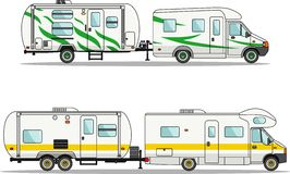 Set of car and travel trailers on a white Royalty Free Stock Images