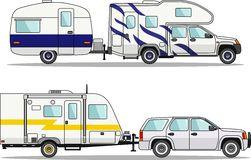 Set of car and travel trailers on a white stock illustration