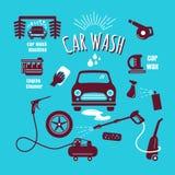 Set car wash icon hand drawn vintage design vector Royalty Free Stock Photos