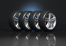 Set of car wheels Stock Images
