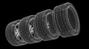 Set of car wheels Royalty Free Stock Photos