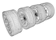 Set of car wheels Royalty Free Stock Image