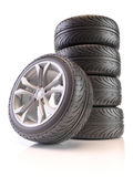 Set of car wheels Royalty Free Stock Photo