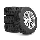 Set of car winter tires isolated Royalty Free Stock Photography