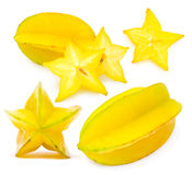 Set of carambola photos Stock Images