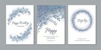 Set of card with beautiful twigs with leaves. Wedding ornament c Stock Images