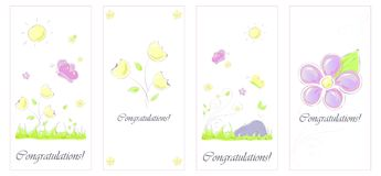 Set card Butterfly flowers hand-drawn stock illustration
