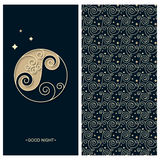 Set with a card with circle logo template stars and words good night and seamless vector pattern with geometric spiral waves. Vector set with a card with circle Royalty Free Stock Photography