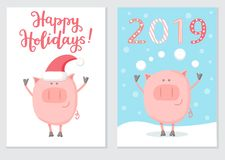 Set of card design with a cute pig character isolated on white in a Santa hat. Set of two greeting cards with the symbol of the Chinese New Year Pig 2019. Cute