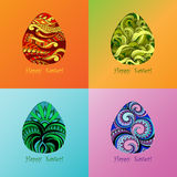 Set of card of Easter with graphic egg Stock Images