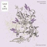 Set of card with flower lavender, leaves. Wedding ornament conce Stock Image