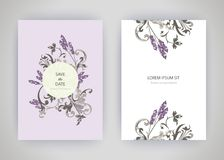Set of card with flower lavender, leaves. Wedding ornament conce Royalty Free Stock Photo