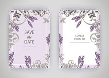 Set of card with flower lavender, leaves. Wedding ornament conce Royalty Free Stock Photos