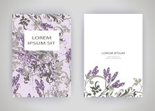 Set of card with flower lavender, leaves. Wedding ornament conce Royalty Free Stock Photography