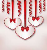 Set card heart shaped with silk ribbon bows and paper serpentine Royalty Free Stock Photography