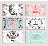 Set of card for international woman`s day, 8 march hand drawn sketch. Vector illustration, set of card for international woman`s day, 8 march hand drawn sketch royalty free illustration