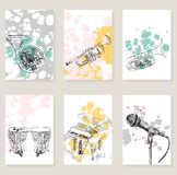 Set of card. Set of musical artistic illustration concept. Art music, greeting card or invitation design background Stock Photo