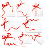 Set of card notes with red gift bows with ribbons Royalty Free Stock Image