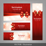 Set of card with ribbons. Royalty Free Stock Image