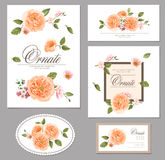 Set card with roses. Floral background. design composition Royalty Free Stock Photo