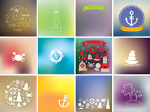 Set card template, icons marine style on blurred background. Vector Royalty Free Stock Image