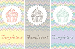 Set of card templates with cakes Royalty Free Stock Images