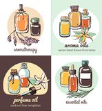 Set of card templates with essential oil bottles. Set of vector illustrations with essential oil bottles, aromatic flowers and plants. Hand drawn doodle objects Royalty Free Stock Photos