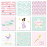 Set of card templates for girls stock illustration
