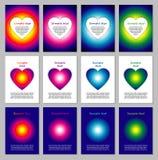 Set of card templates. Set of 12 card templates with hearts Royalty Free Stock Photography
