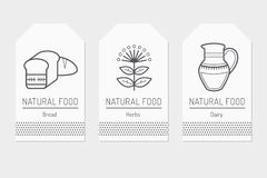 Set of card templates with outlined natural food signs. Bread, herbs, dairy products. Black and white minimalist tag layout. Linear design for business Stock Photo