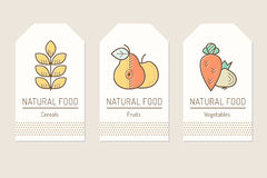 Set of card templates with outlined plant food signs Royalty Free Stock Photography