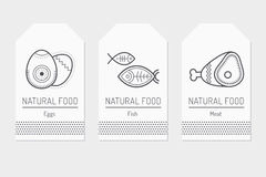 Set of card templates with outlined protein food signs Stock Images
